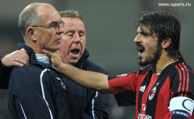 Милан - Тоттенхэм 0:1 Гаттузо нападает на Джо Джордана