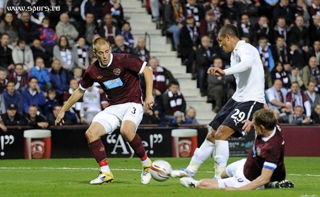 Джейк Ливемор забивает свой первый гол за Шпоры в матче Хартс - Тоттенхэм Хотспур 0:5