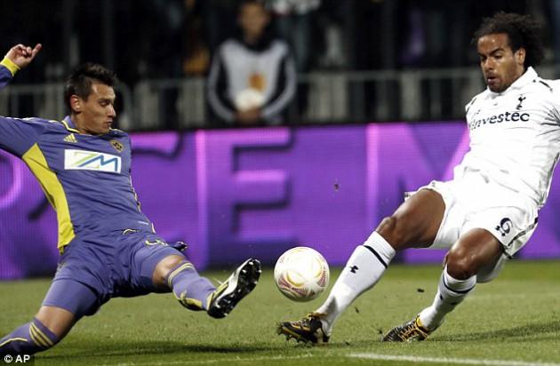 Том Хаддлстоун  в матче Марибор - Тоттенхэм (1-1) Лиги Европы 2012/13