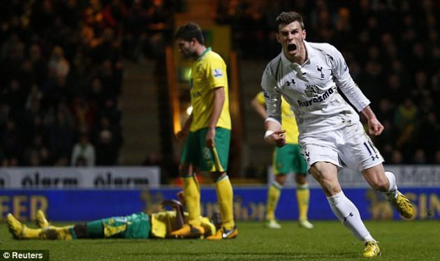 Гарет Бэйл сравнивает счёт в матче Норвич Сити - Тоттенхэм Хотспур 1:1