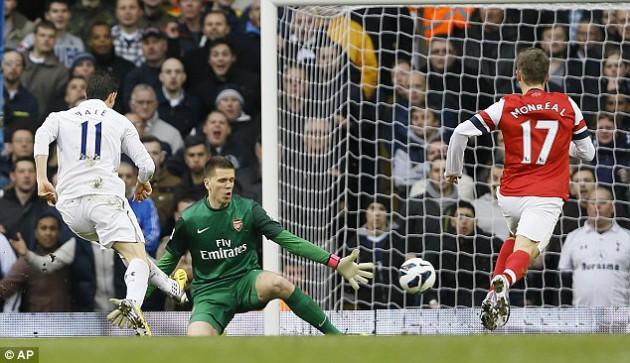 Гарет Бэйл открывает счёт в матче Тоттенхэм - Арсенал 2:1