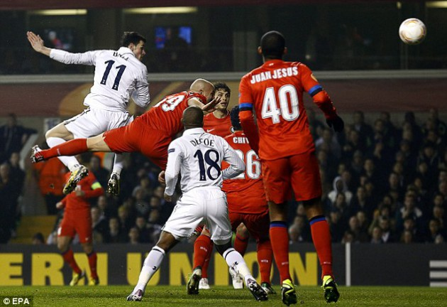 Гарет Бэйл открывает счёт в матче Тоттенхэм - Интер Милан 3:0