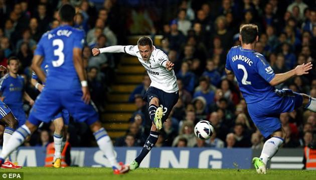 Гилфи Сигурдссон забивает последний гол в матче Челси - Тоттенхэм 2:2