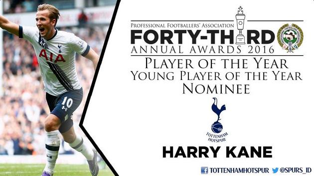 Харри Кэйн участвует в двух номинациях - на лучшего игрока и лучшего молодого игрока сезона